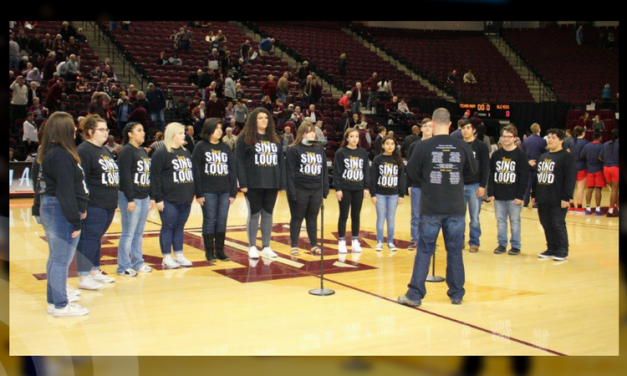 MPHS choir performs the National Anthem at Texas A&M basketball game