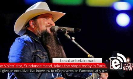 Sundance Head, season 11 winner of 'The Voice', comes to Heritage Hall in Paris, Texas, tonight