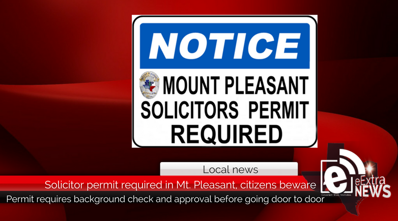 Solicitor permit required in Mt. Pleasant, citizens beware