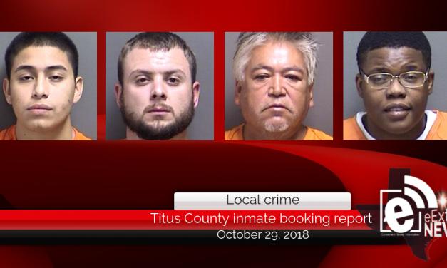 Titus County Jail inmate booking report || October 29, 2018