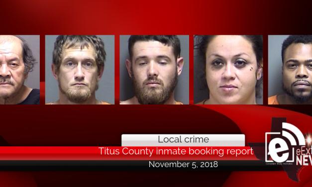 Titus County inmate booking report || November 5, 2018