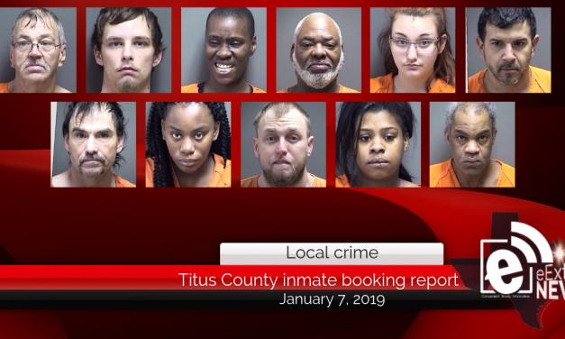 Titus County Jail inmate booking report || January 7, 2019