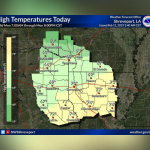 Temperatures well above normal today and rain will persist